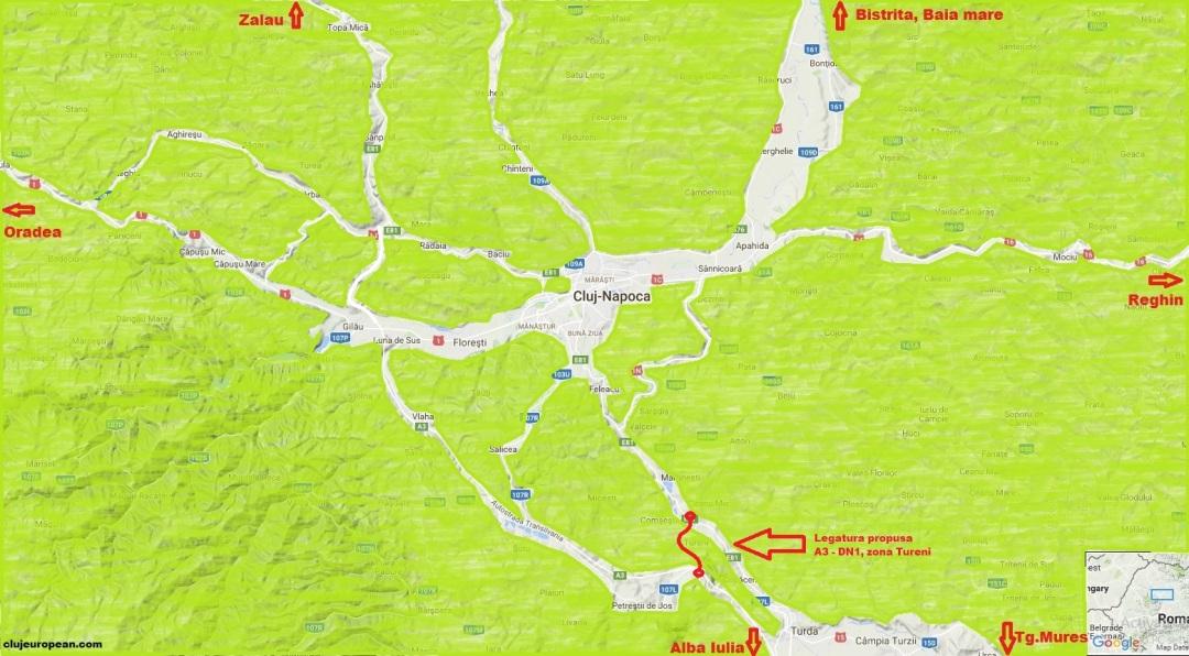 Legatura DN1-A3 zona Tureni
