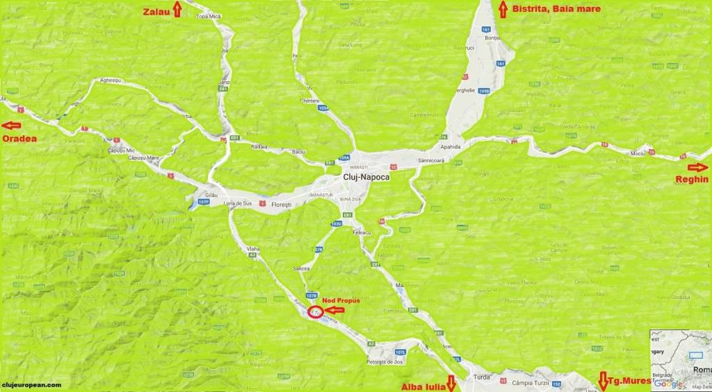 A3 zona Cluj (suport Google Maps, editat)