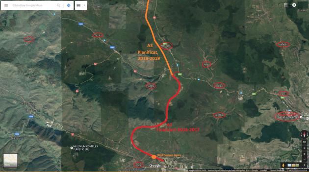 A3 nod Nadaselu (suport Google Maps)